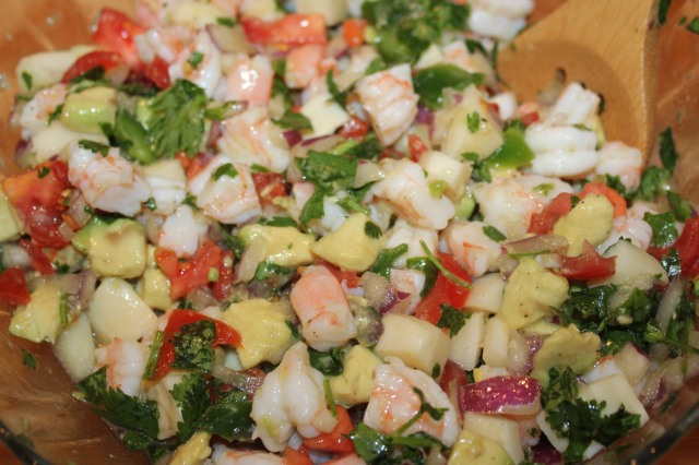 Shrimp ceviche up close