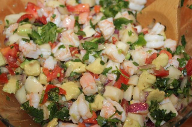 Shrimp ceviche up close