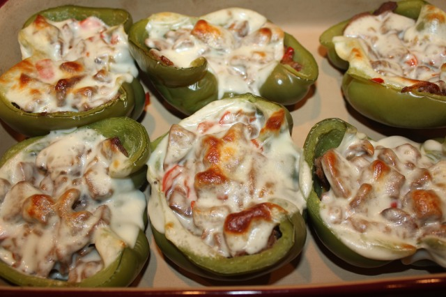 Cheesesteak peppers out of the oven