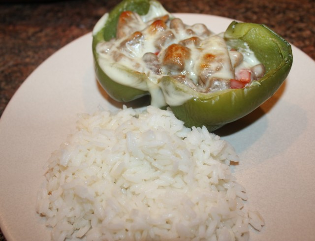 Kids like peppers with rice on the side