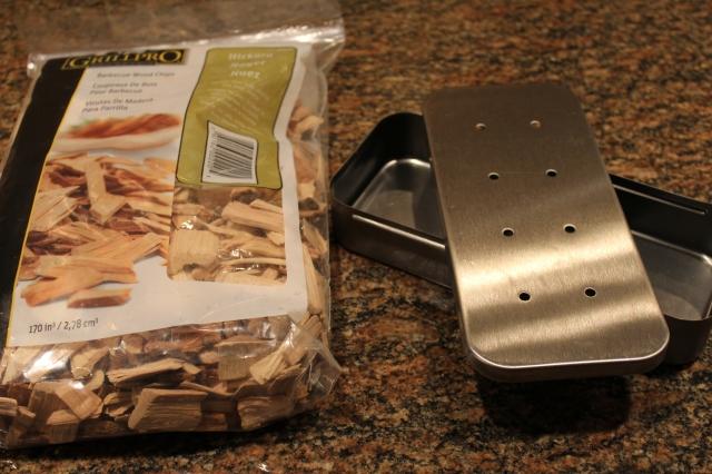 Smoker box and hickory chips