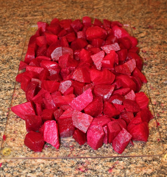 Cut beets into bite-sized pieces