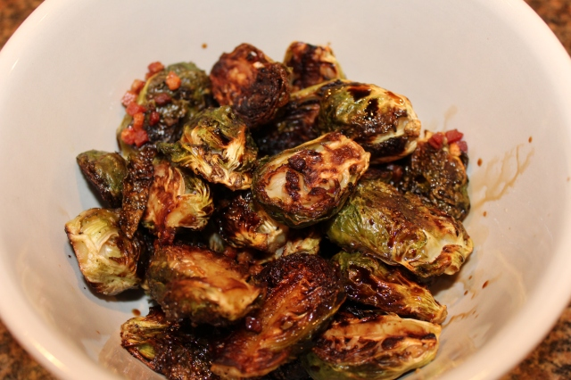 Drizzle roasted Brussel sprouts with balsamic vinegar