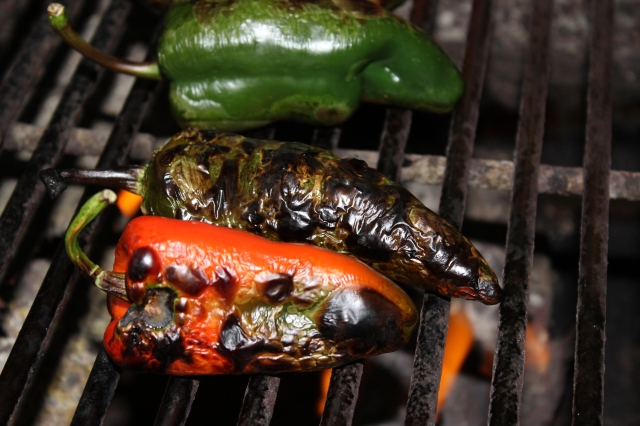 Peppers charring