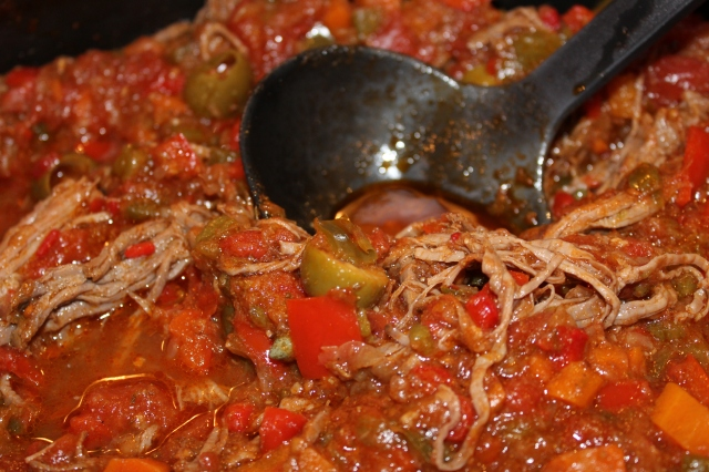 Add veggies, tomatoes to shredded beef, etc.