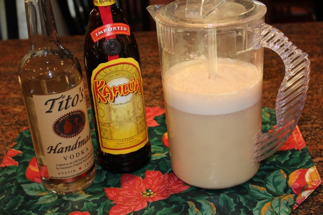 Ingredients for White Russian eggnog
