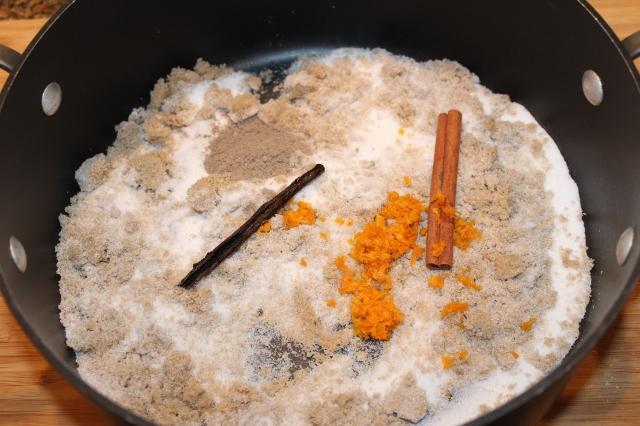 Combine sugars, cinnamon, cardamom, etc.
