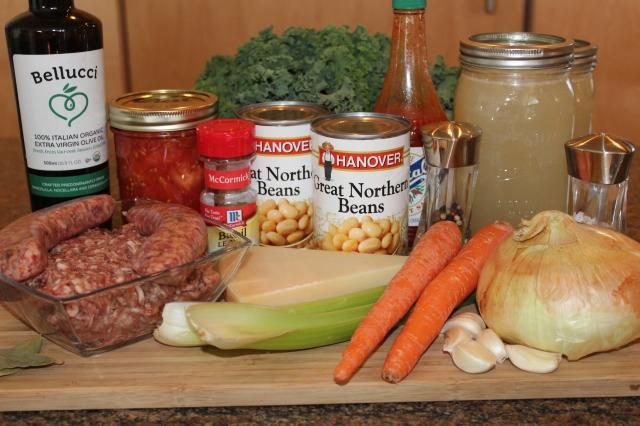 Kel's sausage kale white bean soup ingredients