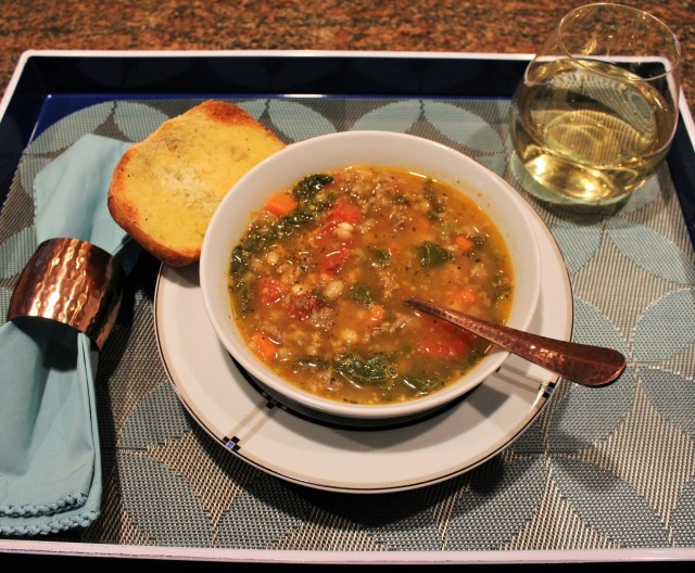 Kel's Sausage kale white bean soup reheated