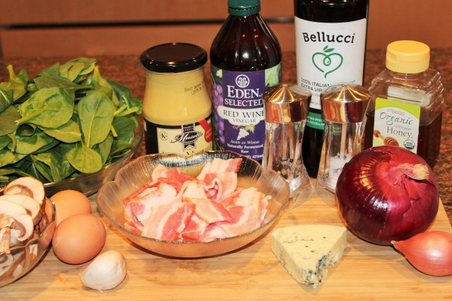 Kel's Spinach salad with warm bacon dressing ingredients