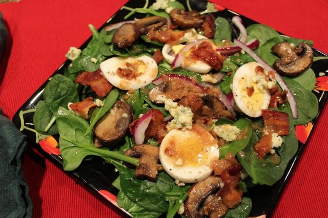 Spinach salad served