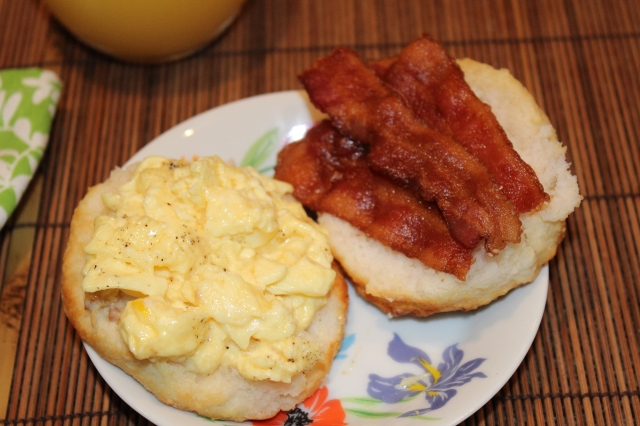Cheese eggs and bacon biscuit