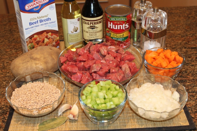 Kel's Beef and Barley Soup ingredients