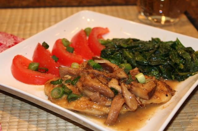 Kel's Chicken Marsala is served