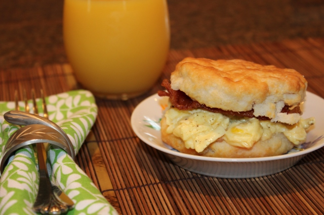 Kel's egg and bacon biscuit