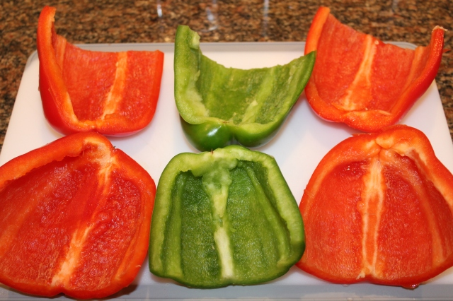 Cut peppers in half lengthwise