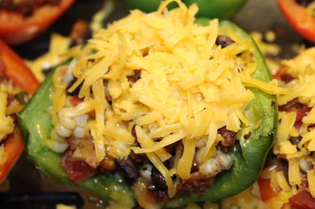 Top peppers with cheddar