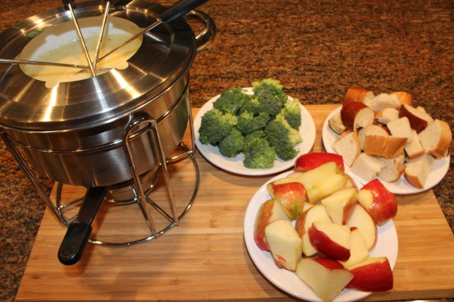 Serve My Fat Dad's Cheese fondue with veggies and bread