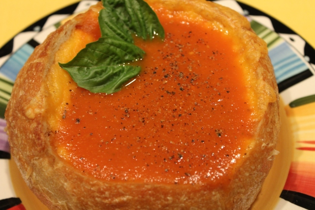 Kel's homemade tomato soup in cheddar-lined bread bowl