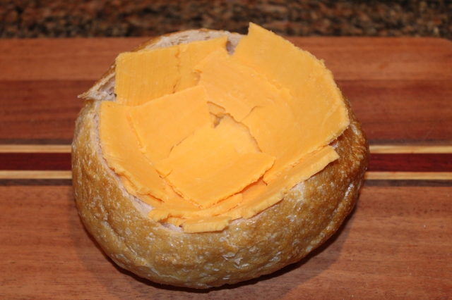 Line bread bowl with cheddar