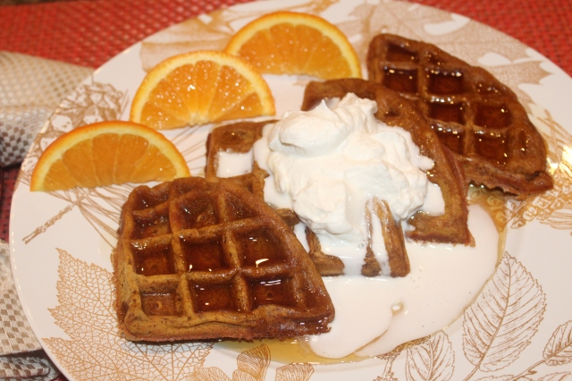 pumpkin-waffle-with-homemade-whipped-cream