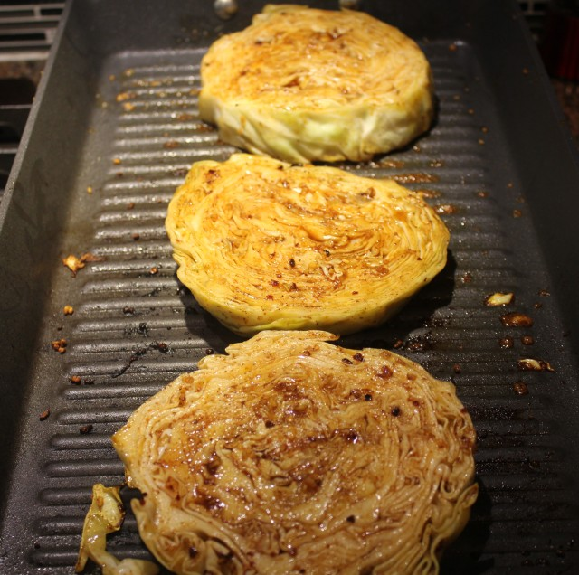 Grill cabbage steaks