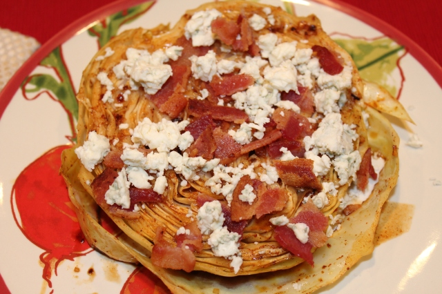 Kel's Grilled Cabbage Steaks with Bacon and Bleu Cheese