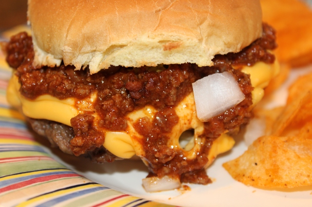 Cheeseburger in paradise with Kel's homemade chili sauce