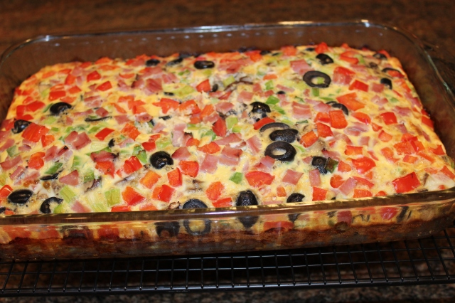 Kel's omelet casserole out of the oven