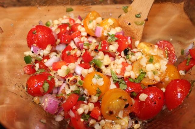 Add corn to tomatoes, etc.
