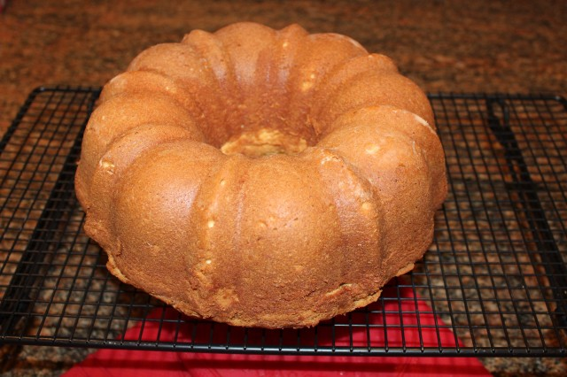 Kel's lemon pound cake cooling on rack