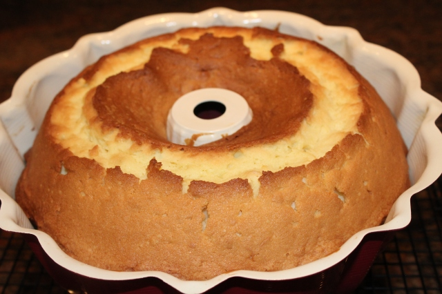 Kel's lemon pound cake out of the oven