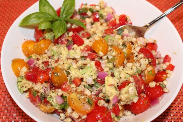 Kel's tomato and grilled corn salad ready to serve