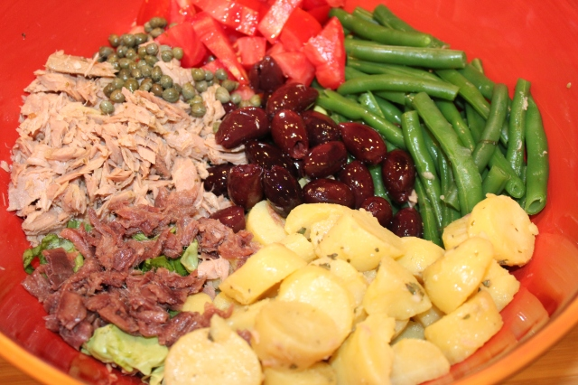 Arrange Kel's Nicoise salad ingredients in a large bowl