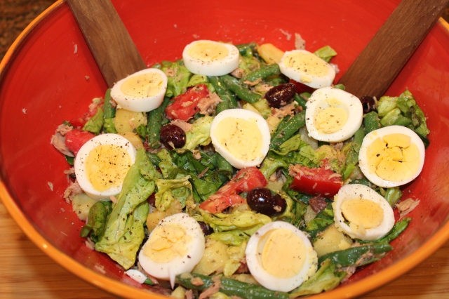 Garnish Kel's nicoise salad with hard boiled egg slices