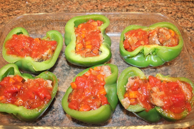 Add meatballs and marinara to bell peppers
