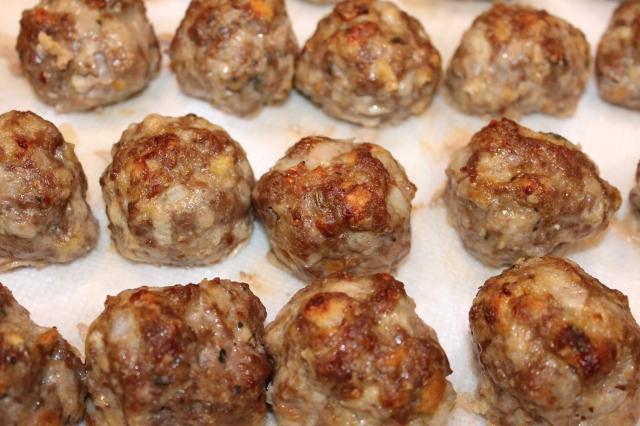 Drain Kel's Italian meatballs