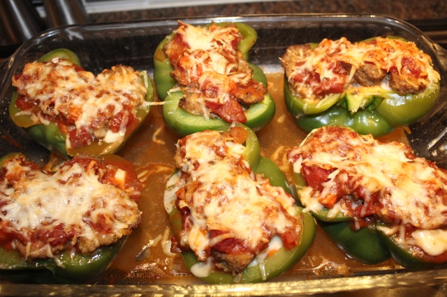 Kel's Meatball Sub Stuffed Peppers out of the oven