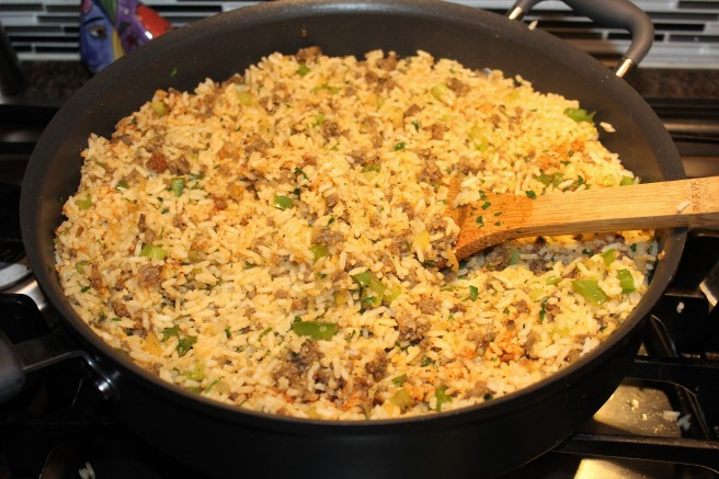 add rice to sausage mixture