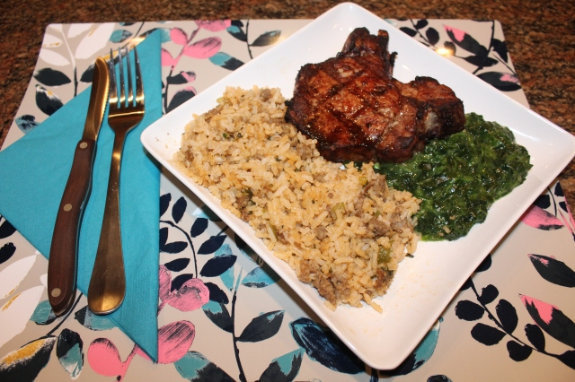 Kel's dirty rice is served with pork chops