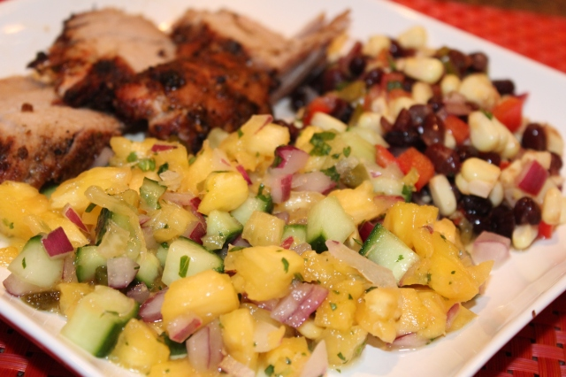 Pineapple cucumber salsa as side dish