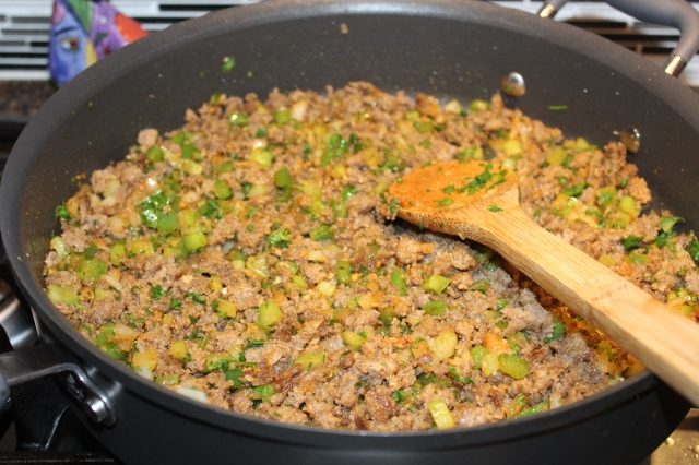 return sausage to pan for kel's dirty rice