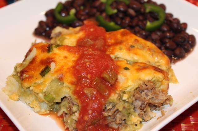 Kel's pork enchiladas with tomatillo sauce