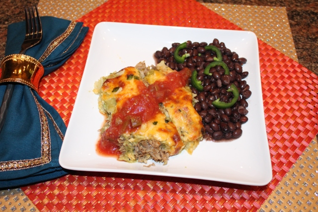 Let's eat Kel's pork enchiladas with tomatillo sauce