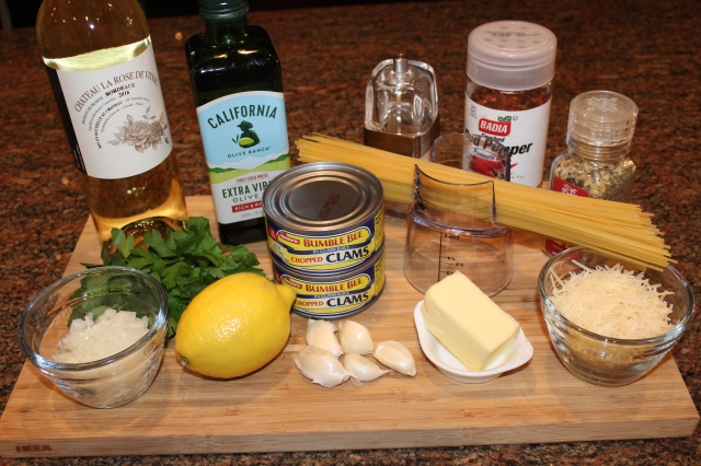 Kel's linguine with with clam sauce ingredients