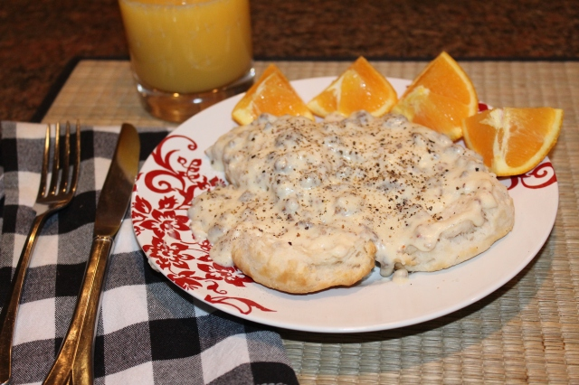 Kel's sausage gravy and biscuits