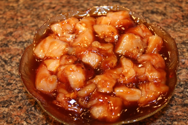 Marinate chicken in teriyaki