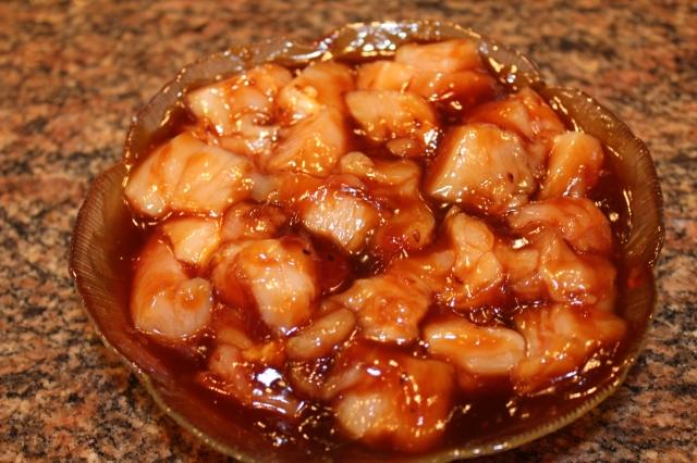 Marinate chicken in teriyaki