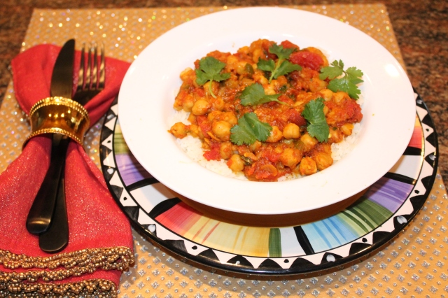Kel's Chana Masala over jasmine rice