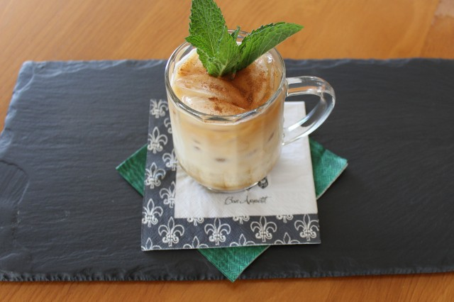 Garnish Kel's Minty Irish Iced coffee with mint and cinnamon
